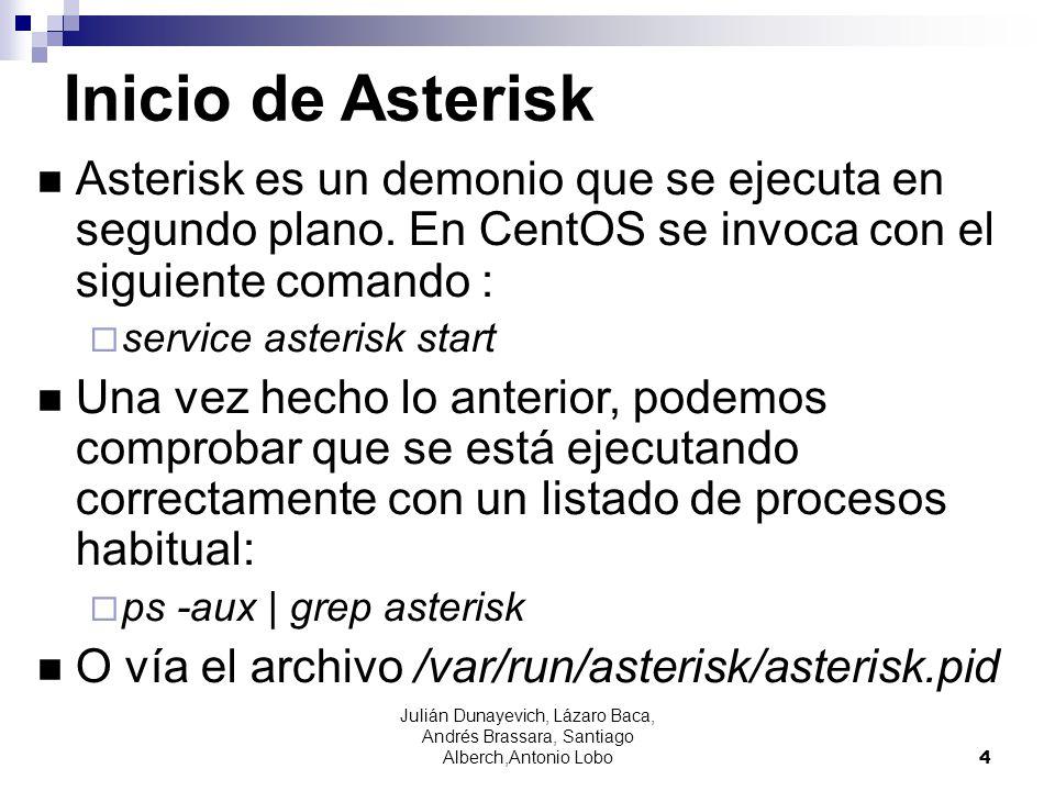 Inicio de Asterisk Asterisk es un demonio que se ejecuta en segundo plano. En CentOS se invoca con el siguiente comando :