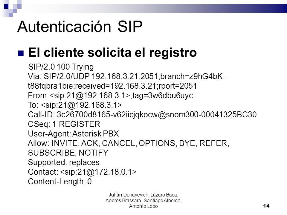 Autenticación SIP El cliente solicita el registro