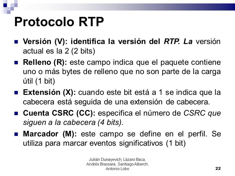Protocolo RTPVersión (V): identifica la versión del RTP. La versión actual es la 2 (2 bits)