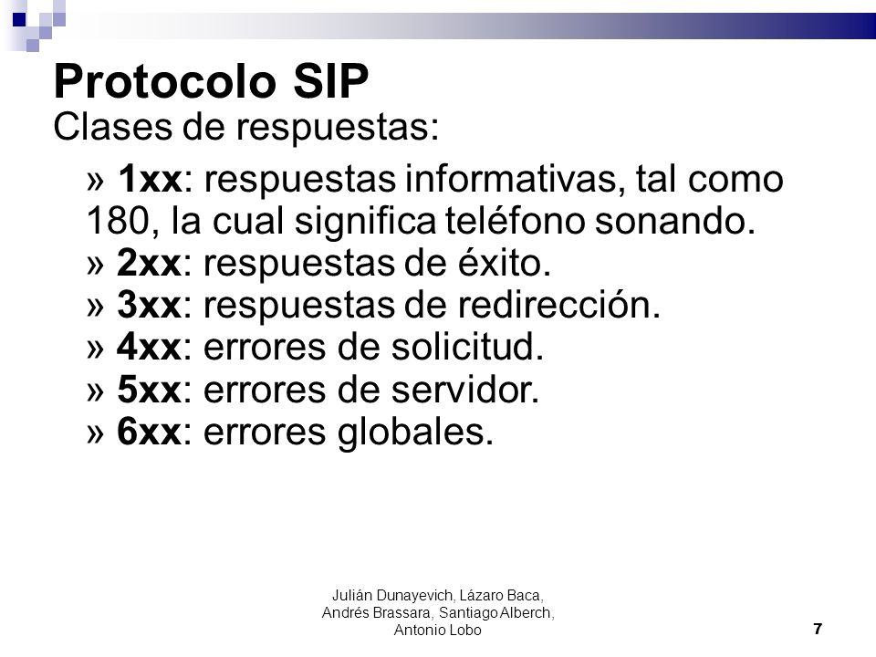 Protocolo SIP Clases de respuestas: