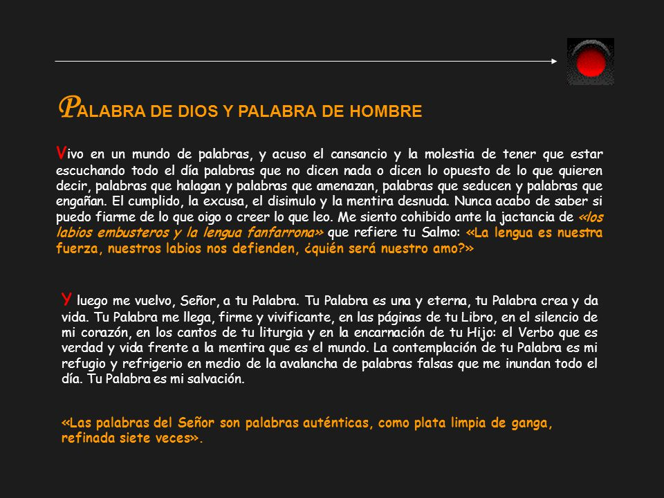PALABRA DE DIOS Y PALABRA DE HOMBRE