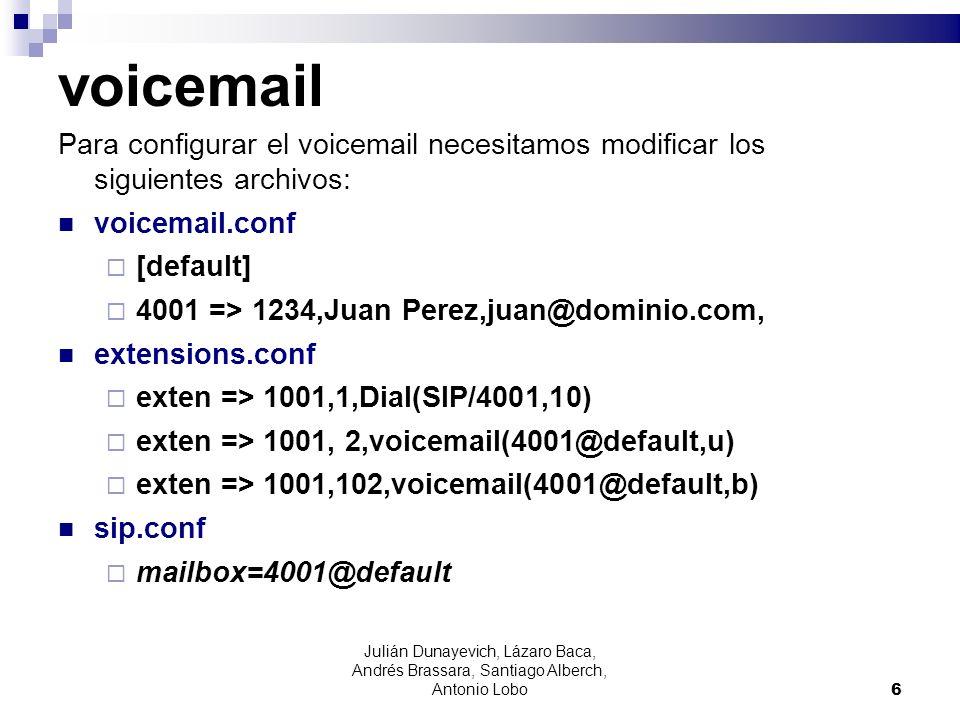 voicemail Para configurar el voicemail necesitamos modificar los siguientes archivos: voicemail.conf.