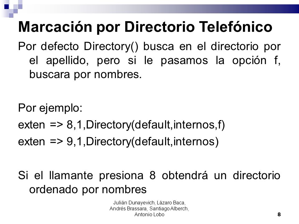 Marcación por Directorio Telefónico