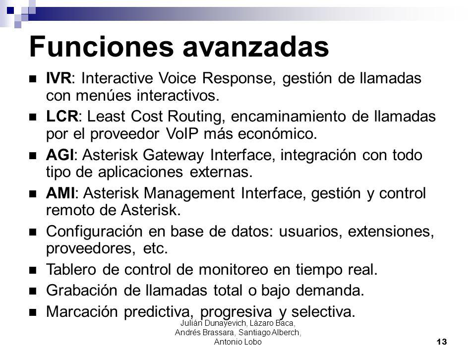 Funciones avanzadasIVR: Interactive Voice Response, gestión de llamadas con menúes interactivos.