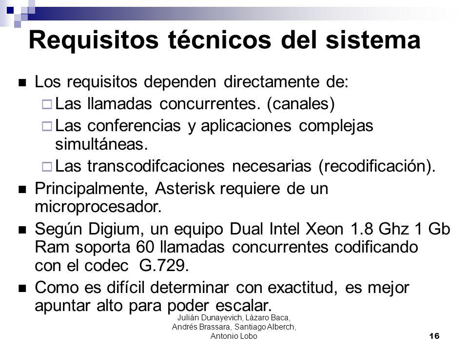 Requisitos técnicos del sistema