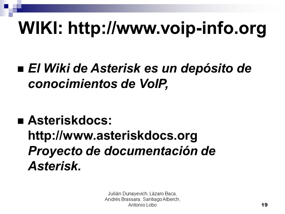 WIKI: http://www.voip-info.org