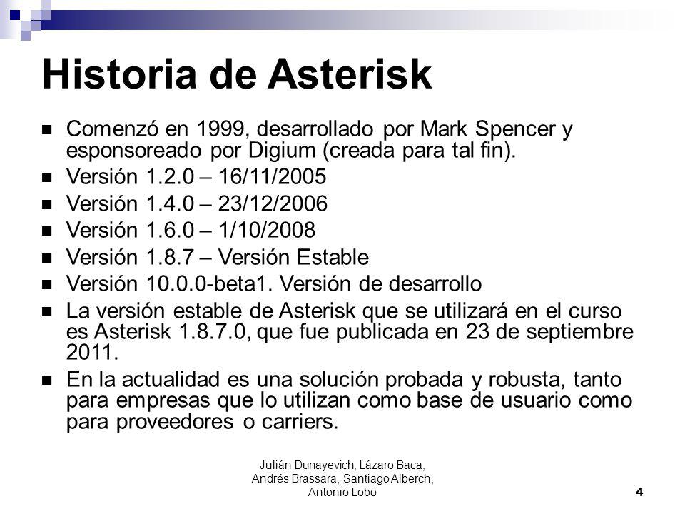 Historia de AsteriskComenzó en 1999, desarrollado por Mark Spencer y esponsoreado por Digium (creada para tal fin).