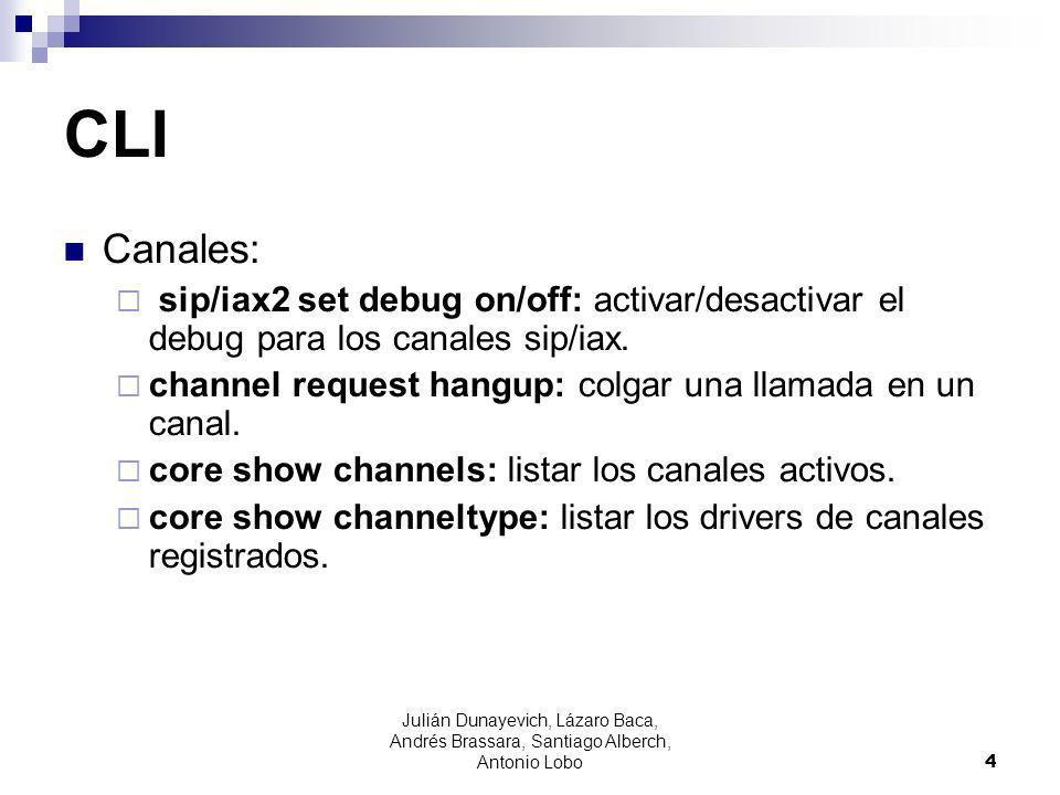 CLI Canales: sip/iax2 set debug on/off: activar/desactivar el debug para los canales sip/iax.