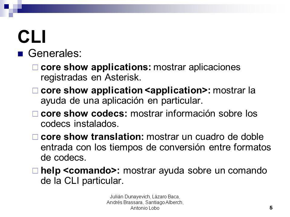 CLI Generales: core show applications: mostrar aplicaciones registradas en Asterisk.
