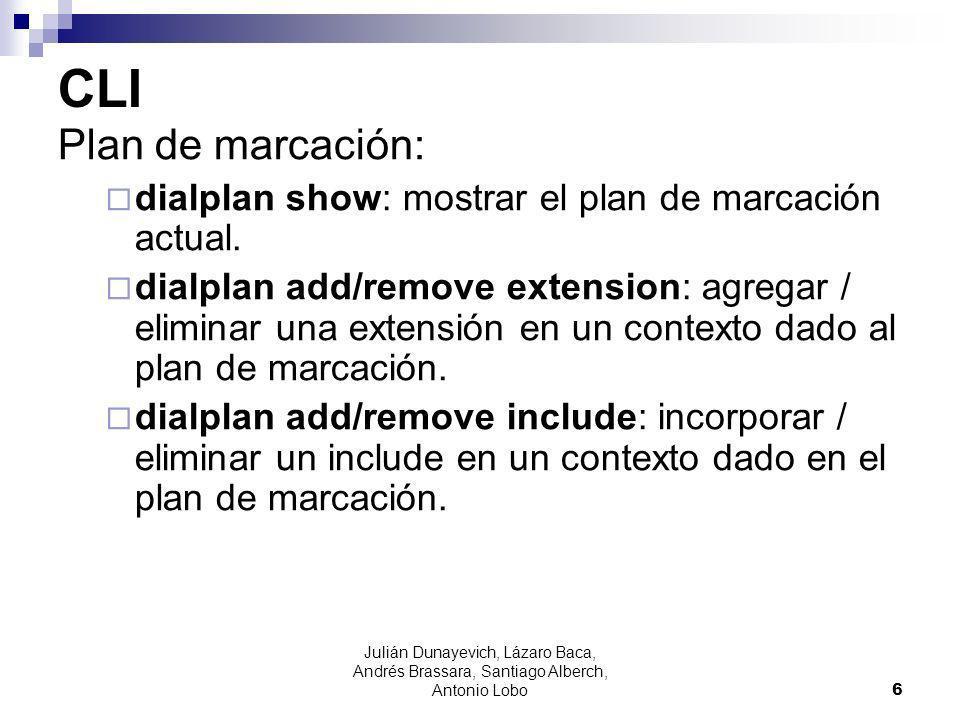 CLI Plan de marcación: dialplan show: mostrar el plan de marcación actual.