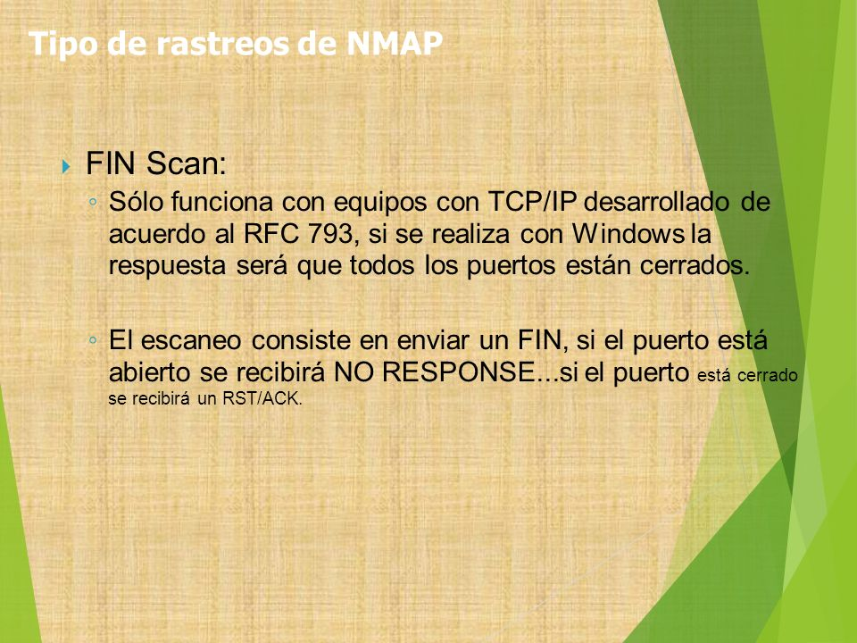 Tipo de rastreos de NMAP
