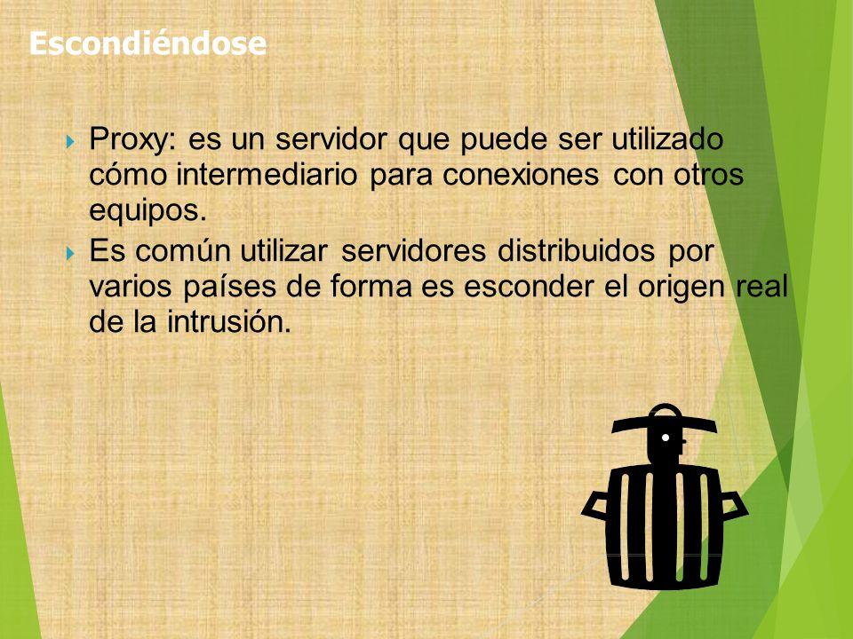 Escondiéndose Proxy: es un servidor que puede ser utilizado cómo intermediario para conexiones con otros equipos.