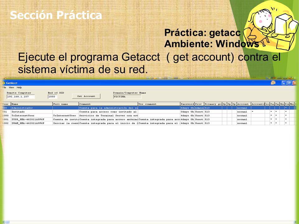 Sección Práctica Práctica: getacc. Ambiente: Windows.
