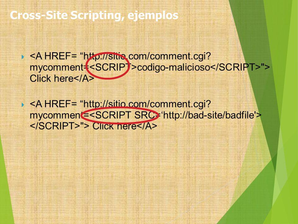 Cross-Site Scripting, ejemplos