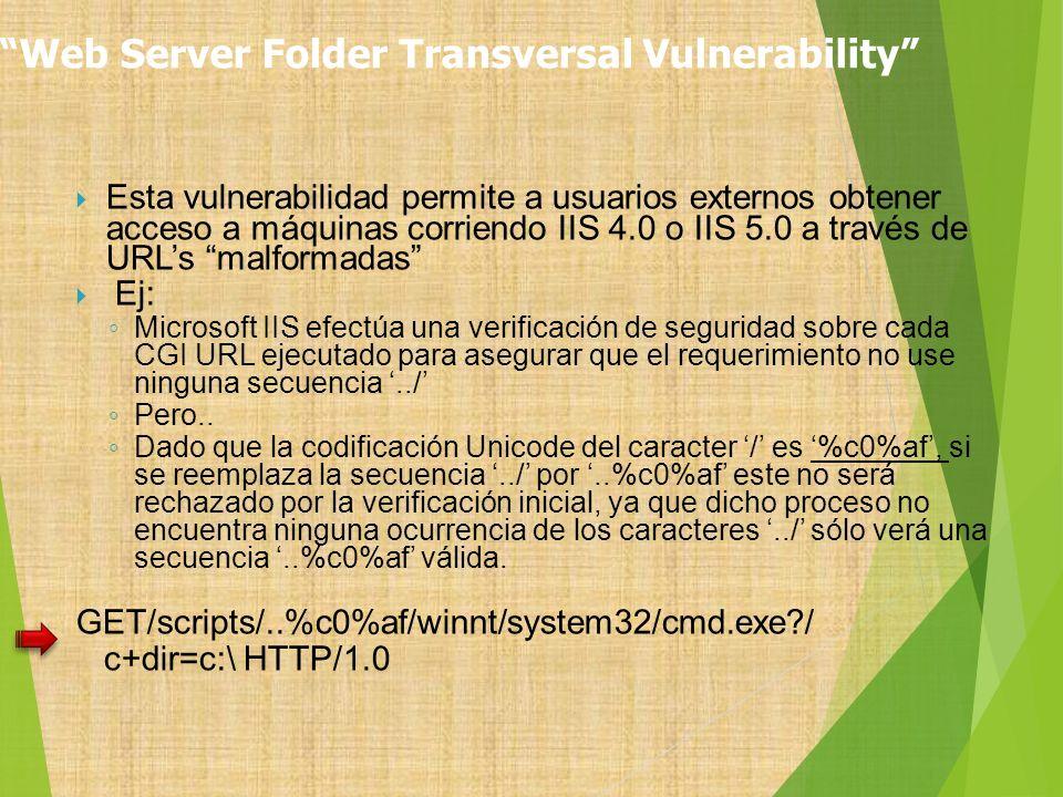 Web Server Folder Transversal Vulnerability