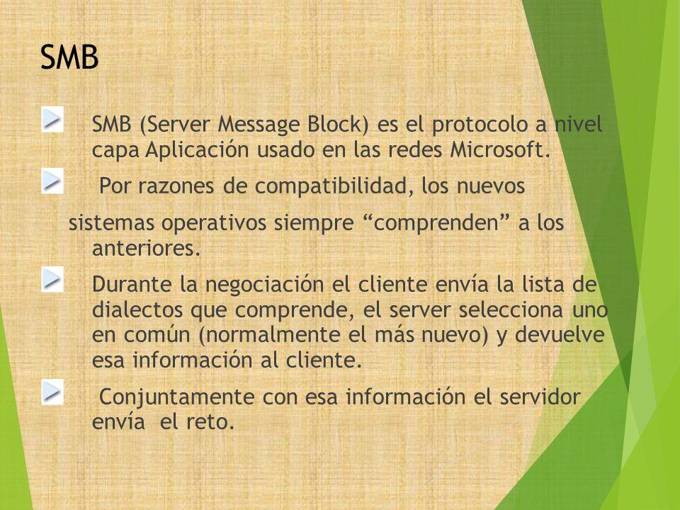 SMB SMB (Server Message Block) es el protocolo a nivel capa Aplicación usado en las redes Microsoft.