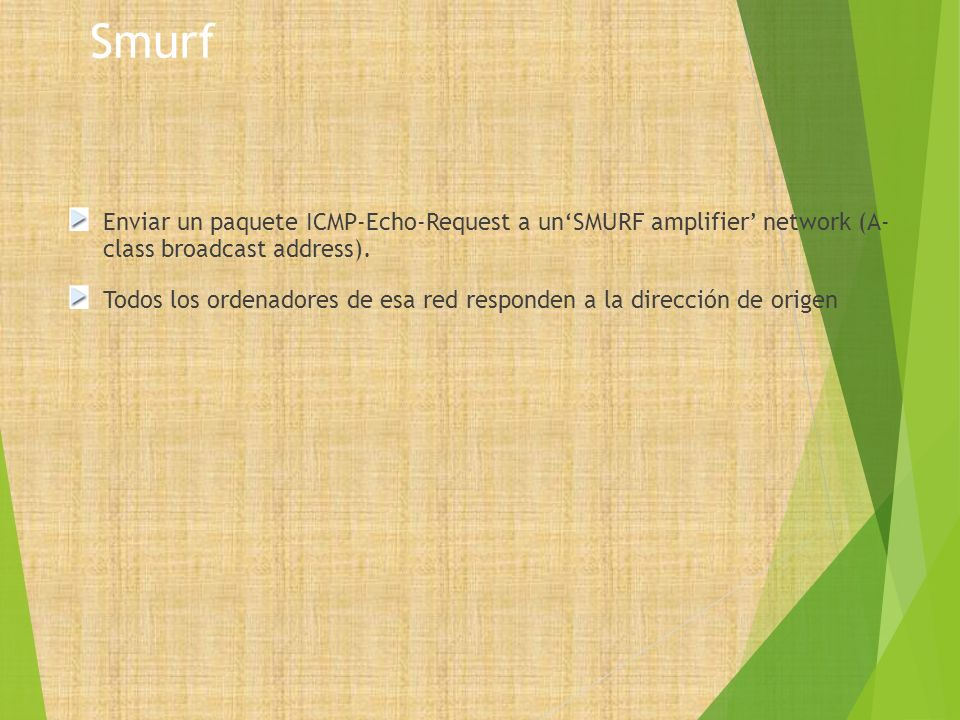 Smurf Enviar un paquete ICMP-Echo-Request a un'SMURF amplifier' network (A- class broadcast address).