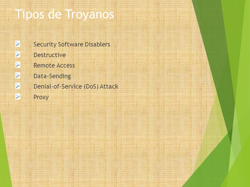 Tipos de Troyanos Security Software Disablers Destructive