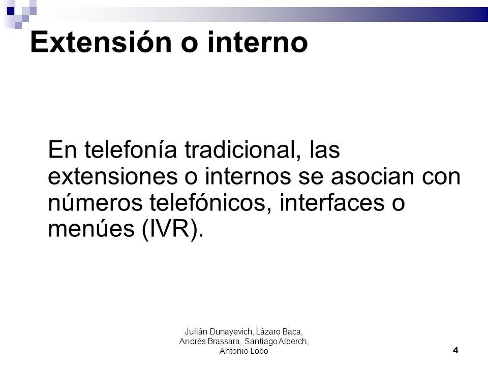 Extensión o internoEn telefonía tradicional, las extensiones o internos se asocian con números telefónicos, interfaces o menúes (IVR).