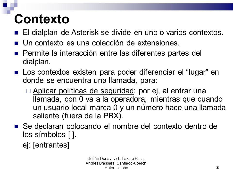 Contexto El dialplan de Asterisk se divide en uno o varios contextos.