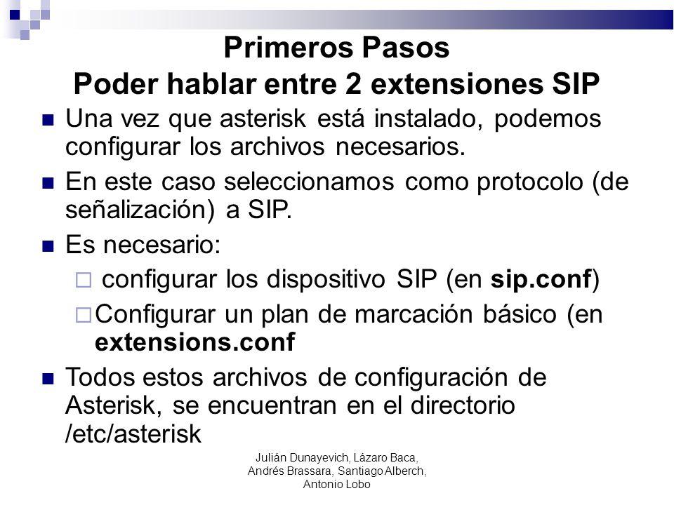 Primeros Pasos Poder hablar entre 2 extensiones SIP
