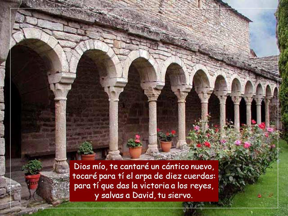 Dios mío, te cantaré un cántico nuevo, tocaré para tí el arpa de diez cuerdas: para tí que das la victoria a los reyes, y salvas a David, tu siervo.