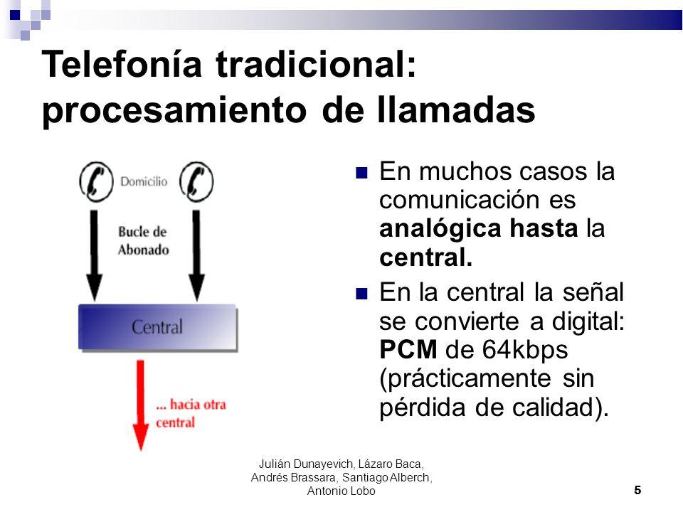 Telefonía tradicional: procesamiento de llamadas