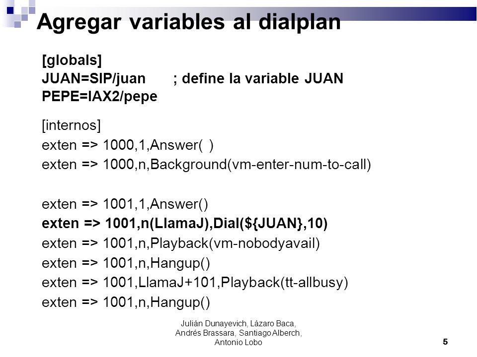 Agregar variables al dialplan
