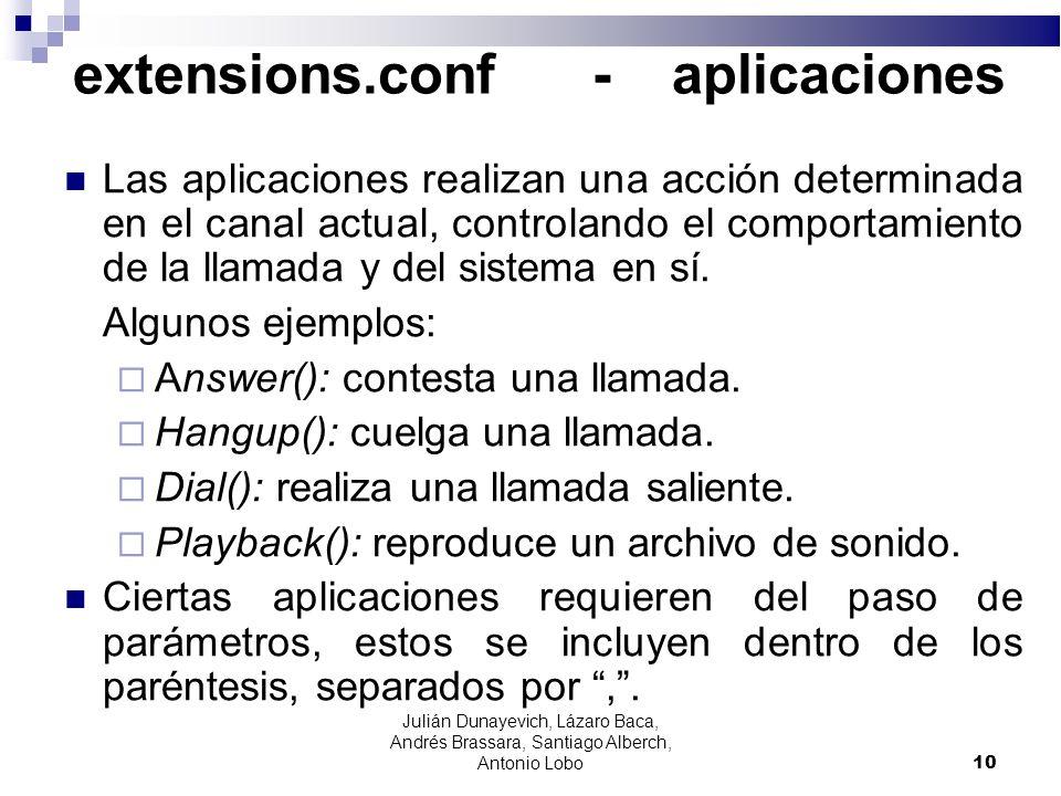 extensions.conf - aplicaciones