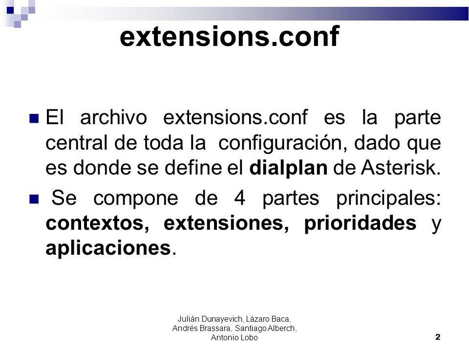 extensions.conf El archivo extensions.conf es la parte central de toda la configuración, dado que es donde se define el dialplan de Asterisk.