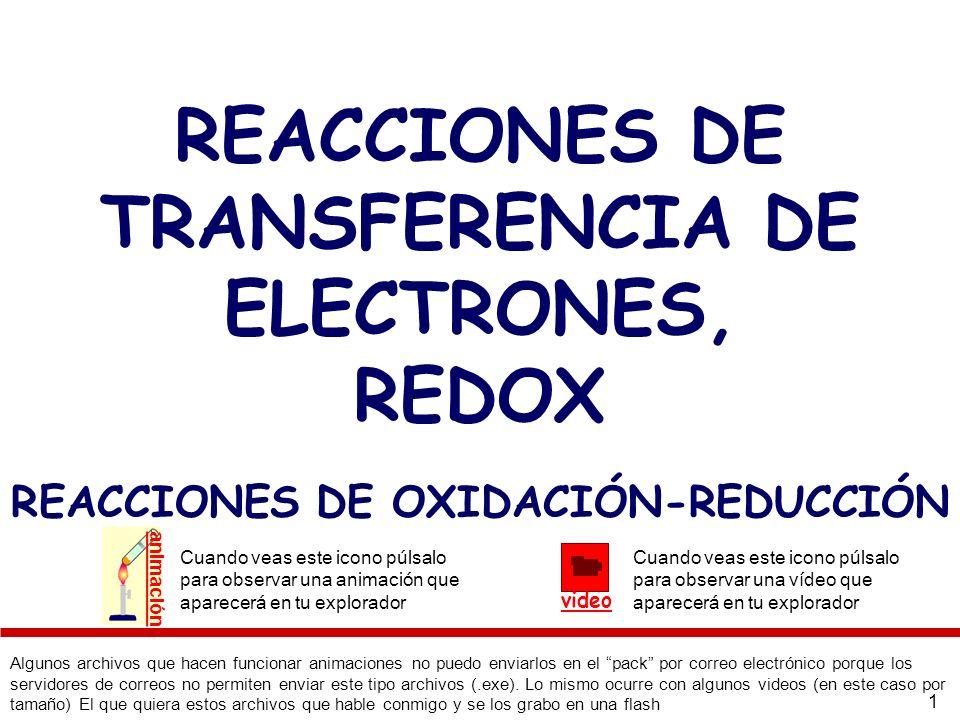 REACCIONES DE TRANSFERENCIA DE ELECTRONES, REDOX