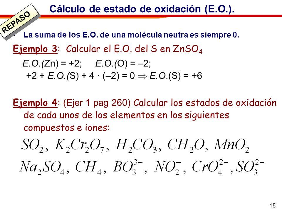 Cálculo de estado de oxidación (E.O.).