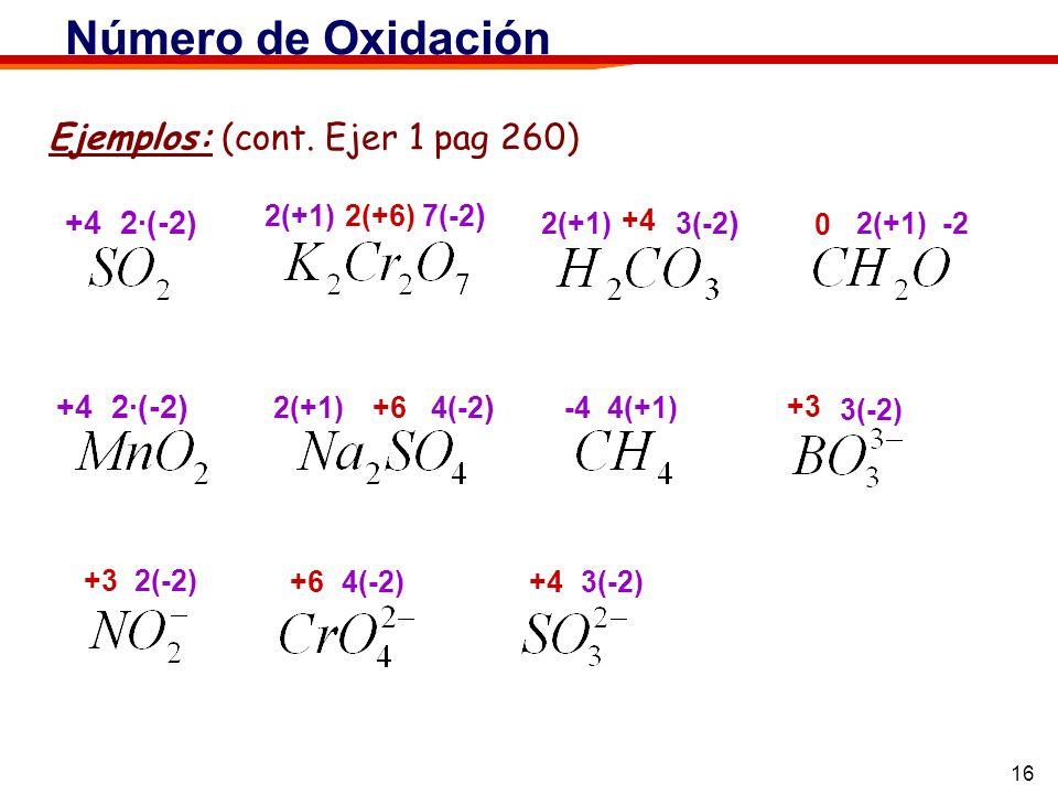 Número de Oxidación Ejemplos: (cont. Ejer 1 pag 260) +4 2·(-2)