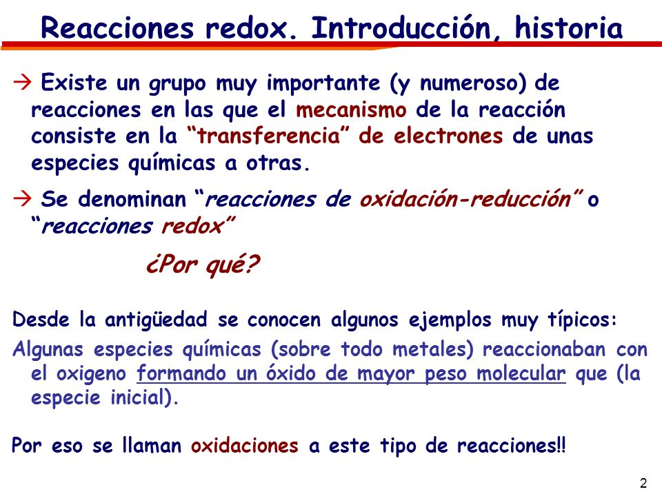 Reacciones redox. Introducción, historia