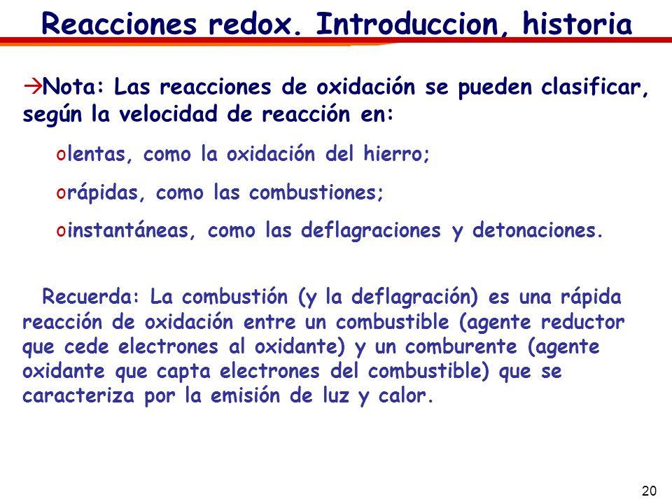 Reacciones redox. Introduccion, historia