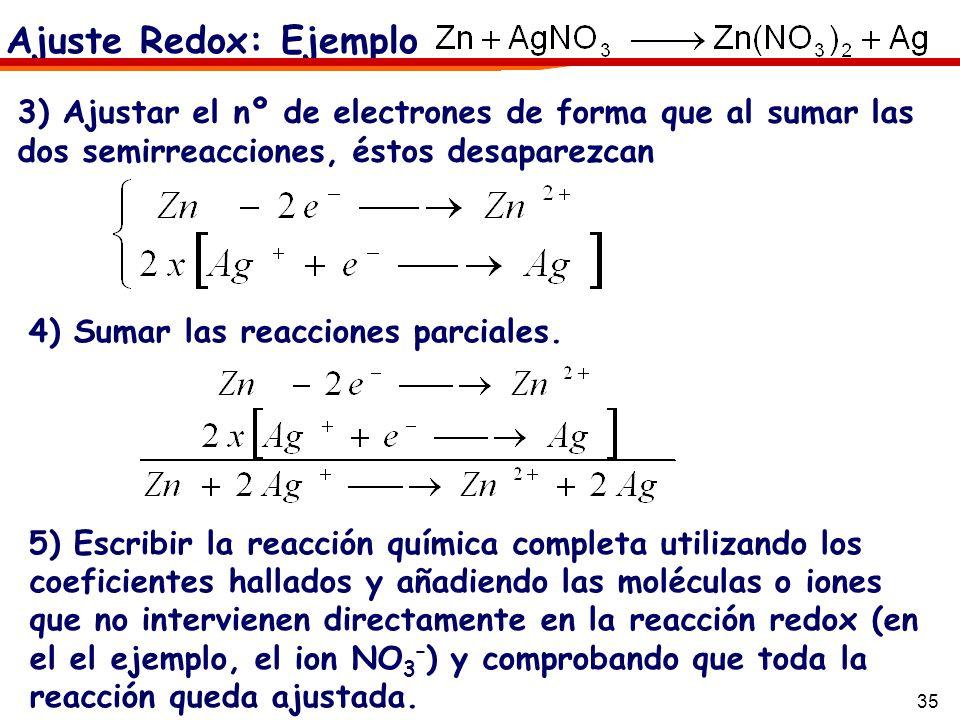 Ajuste Redox: Ejemplo 3) Ajustar el nº de electrones de forma que al sumar las dos semirreacciones, éstos desaparezcan.