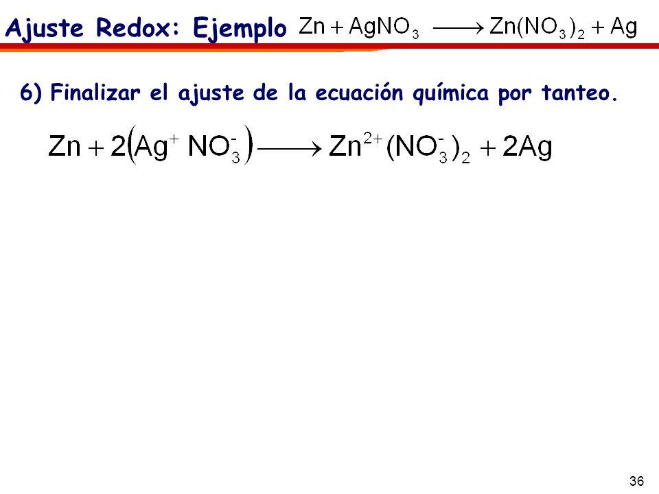 Ajuste Redox: Ejemplo6) Finalizar el ajuste de la ecuación química por tanteo.
