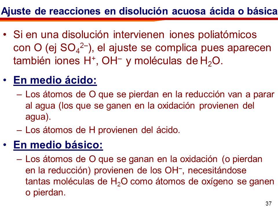 Ajuste de reacciones en disolución acuosa ácida o básica.