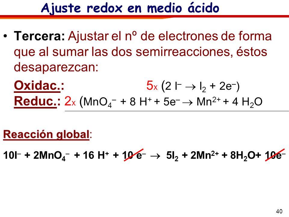 Ajuste redox en medio ácido