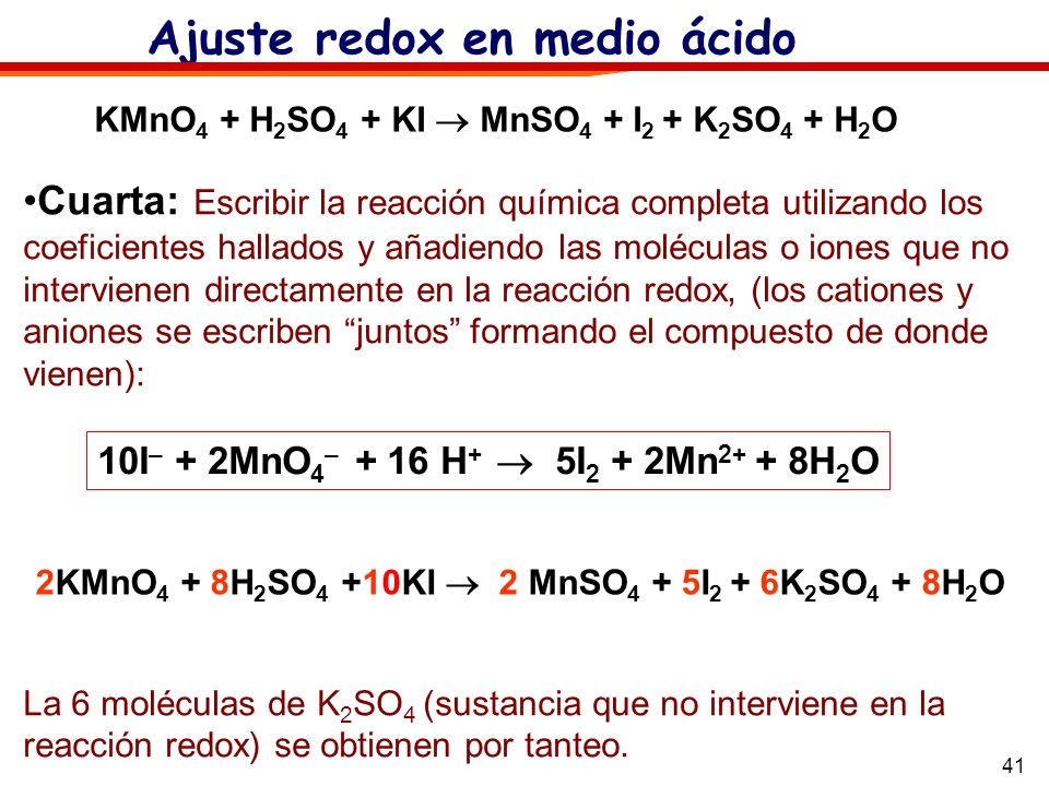 KMnO4 + H2SO4 + KI  MnSO4 + I2 + K2SO4 + H2O