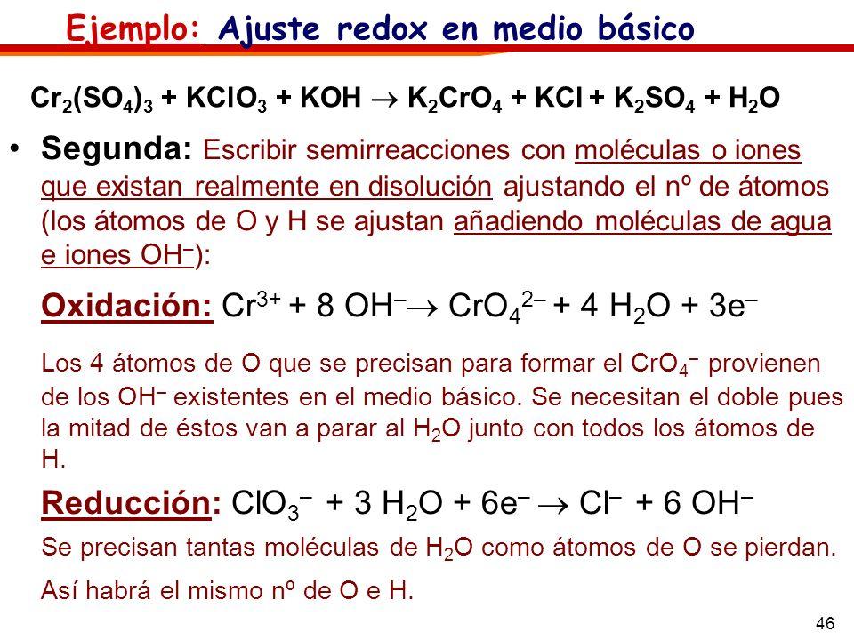 Oxidación: Cr3+ + 8 OH– CrO42– + 4 H2O + 3e–
