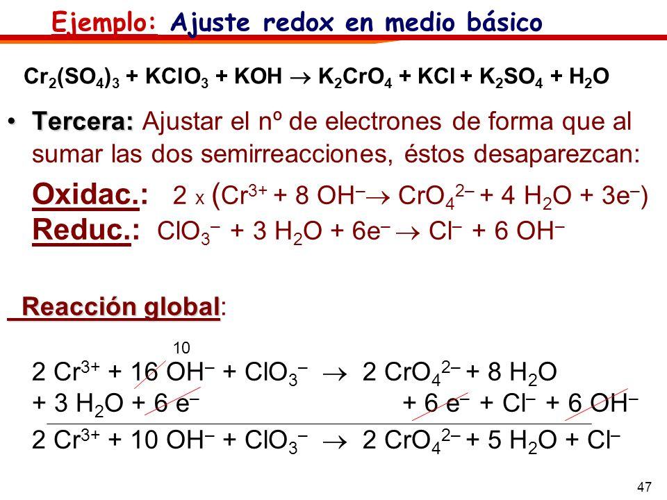 Ejemplo: Ajuste redox en medio básico