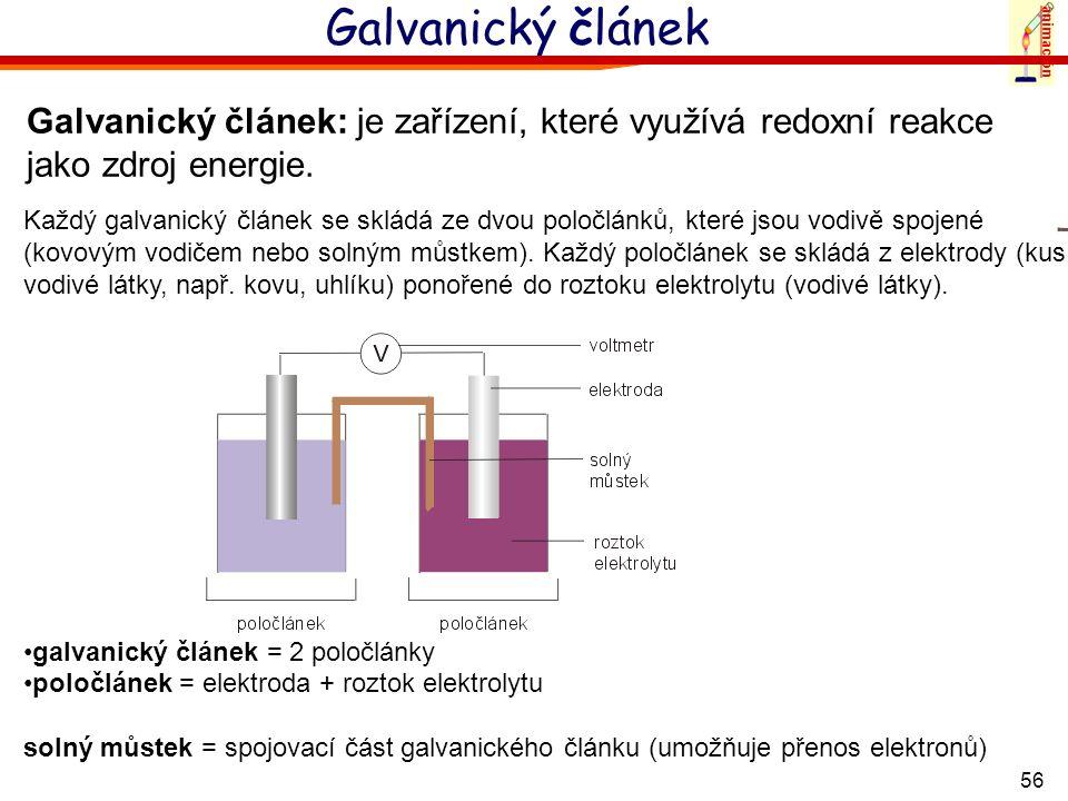 animaciónGalvanický článek. Galvanický článek: je zařízení, které využívá redoxní reakce jako zdroj energie.