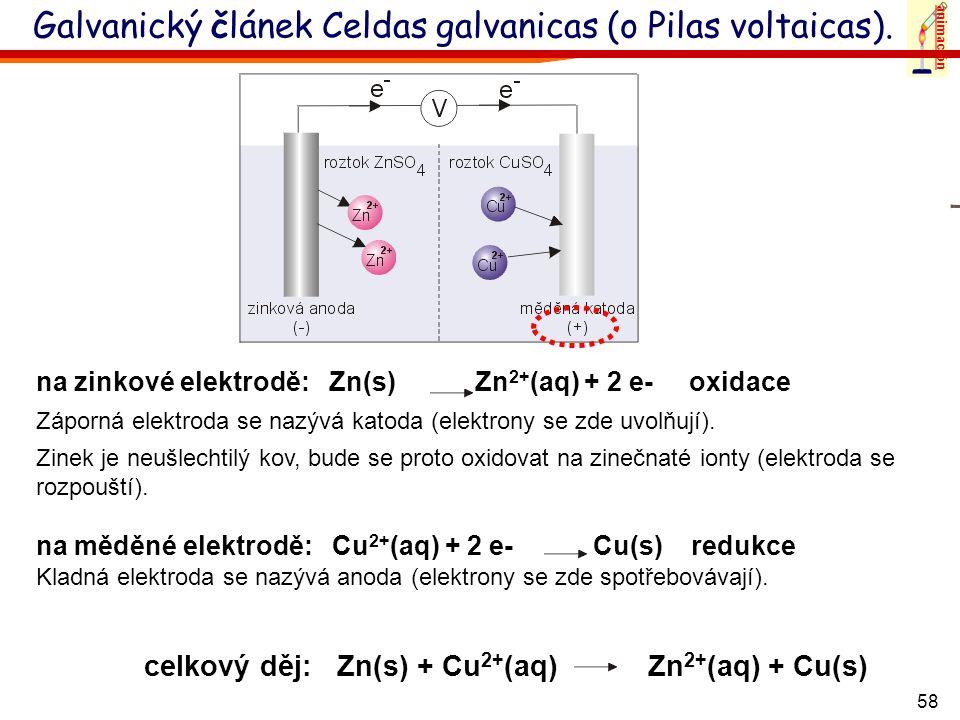 Galvanický článek Celdas galvanicas (o Pilas voltaicas).