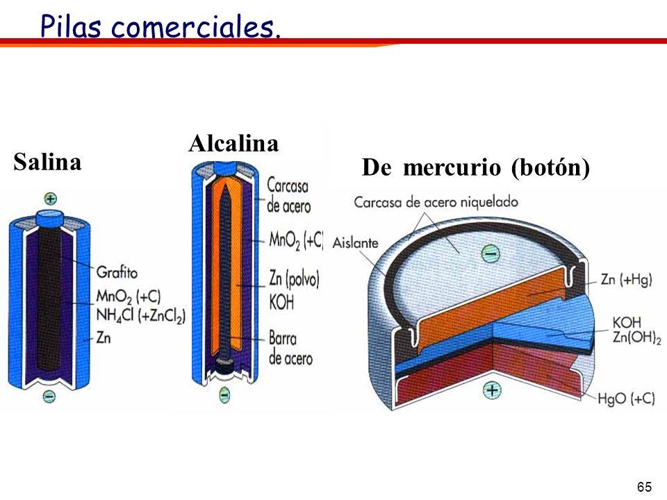Pilas comerciales. Alcalina Salina De mercurio (botón)