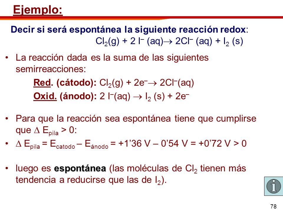 Ejemplo:Decir si será espontánea la siguiente reacción redox: Cl2(g) + 2 I– (aq) 2Cl– (aq) + I2 (s)