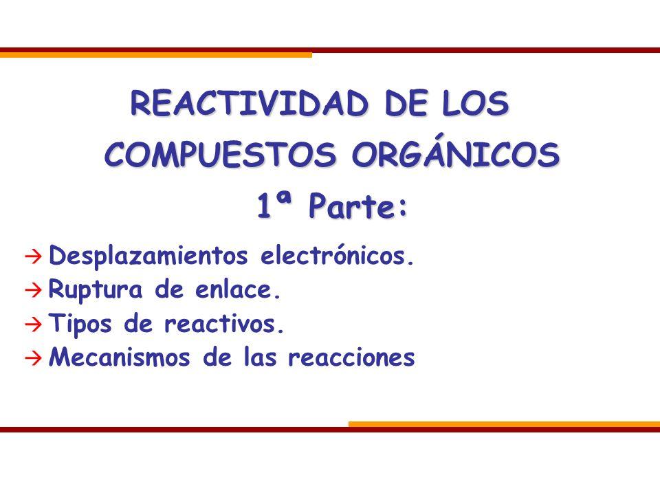 REACTIVIDAD DE LOS COMPUESTOS ORGÁNICOS 1ª Parte:
