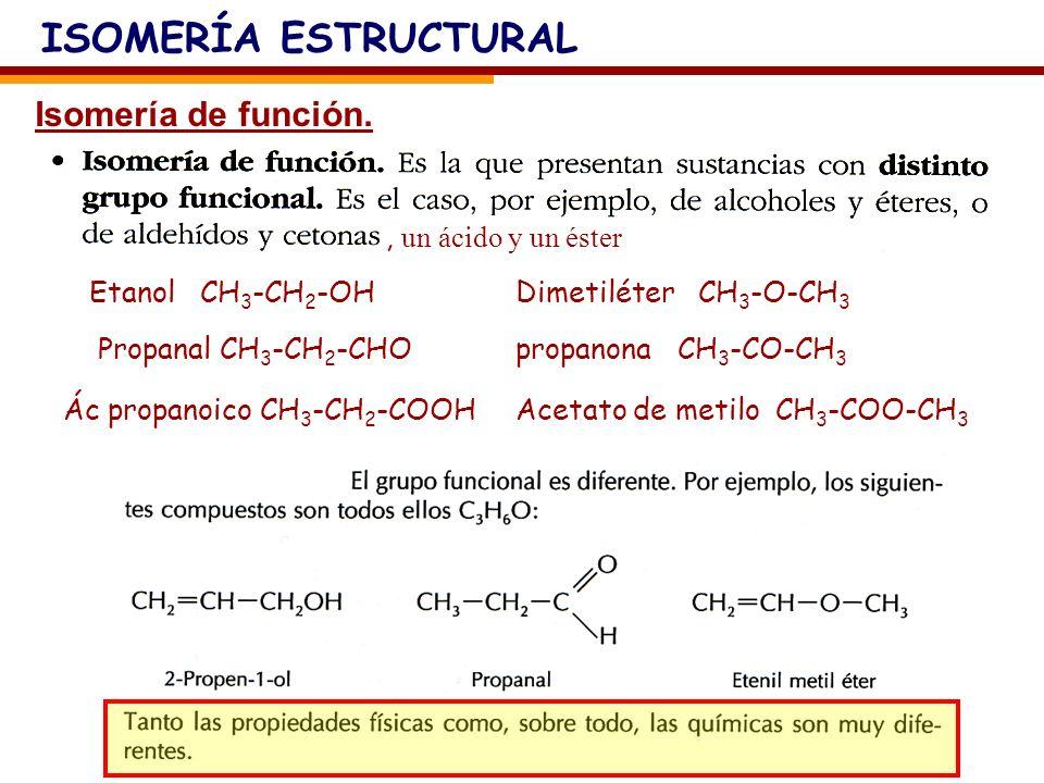 ISOMERÍA ESTRUCTURAL Isomería de función. , un ácido y un éster