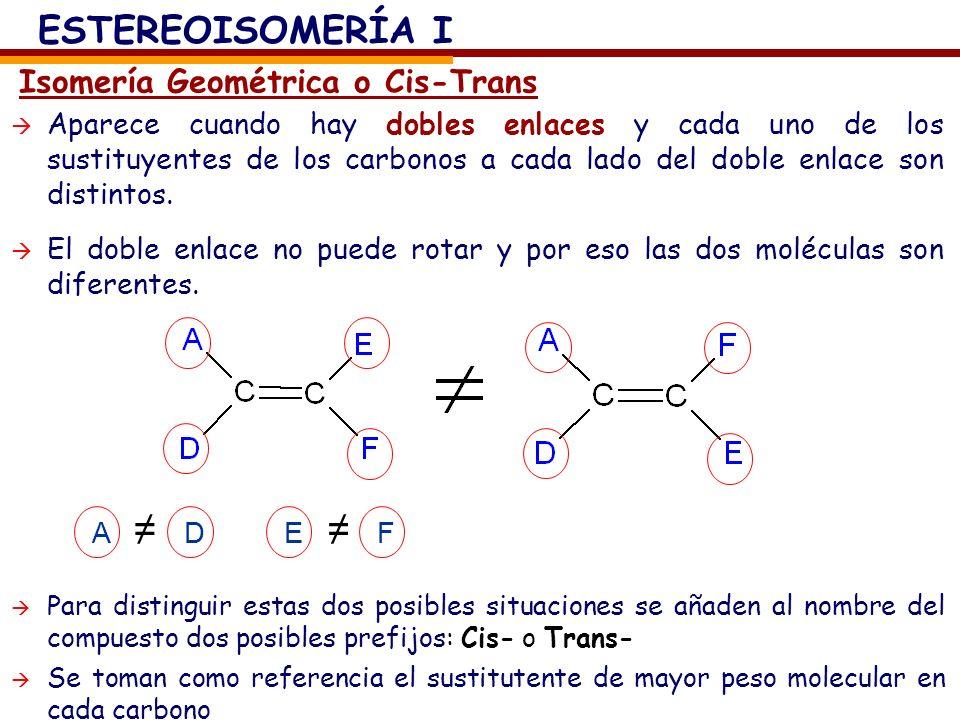 Isomería Geométrica o Cis-Trans