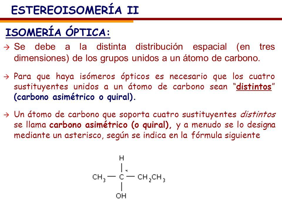 ESTEREOISOMERÍA II ISOMERÍA ÓPTICA: